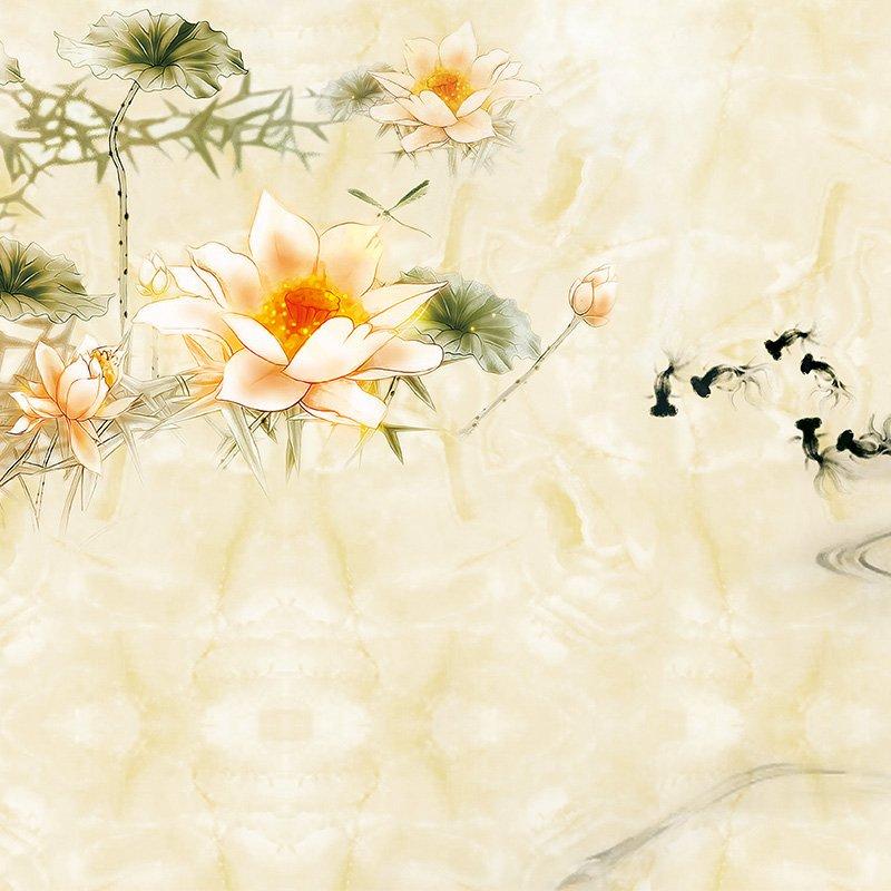 陶瓷艺术背景墙__BJQ1543 荷塘清趣